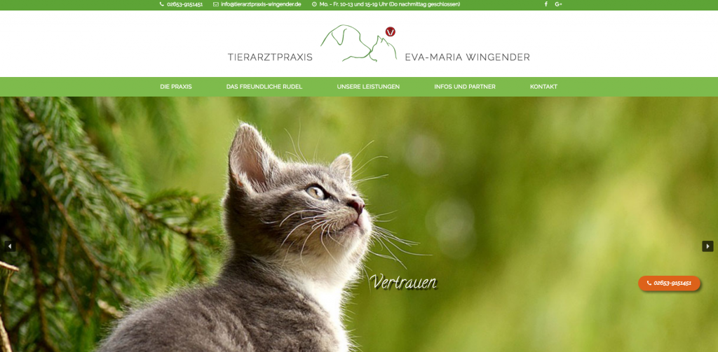Webdesign: www.tierarztpraxis-wingender.de