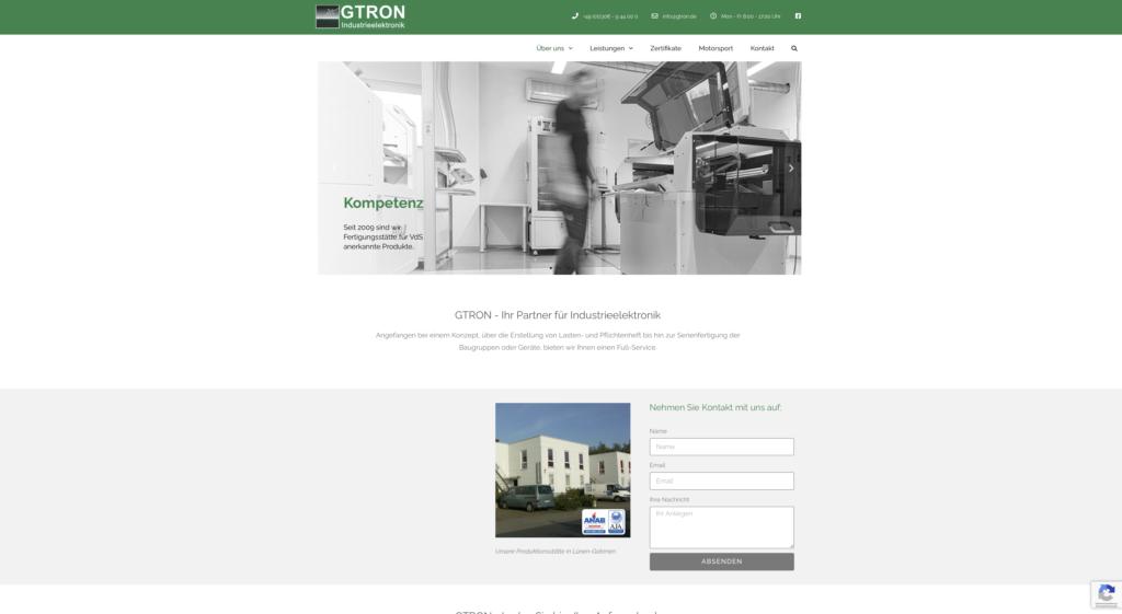 Webseite für die Elektronikfirma Gtron in Lünen/NRW - www.gtron.de