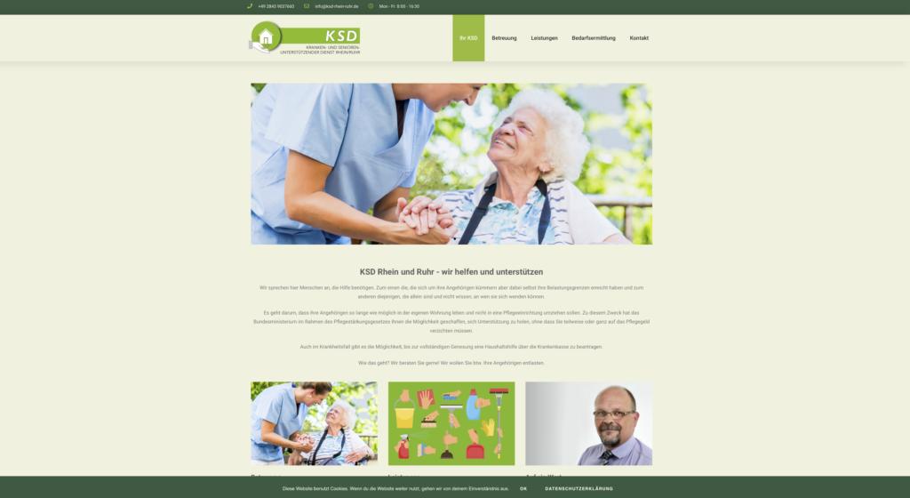 Webseite für den medizinischen Dienst KSD Rhein Ruhr - www.ksd-rhein-ruhr.de